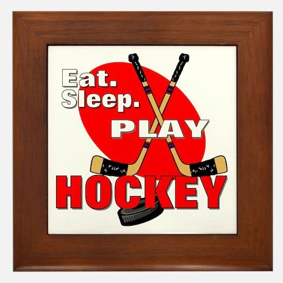 Eat Sleep Play Hockey Framed Tile
