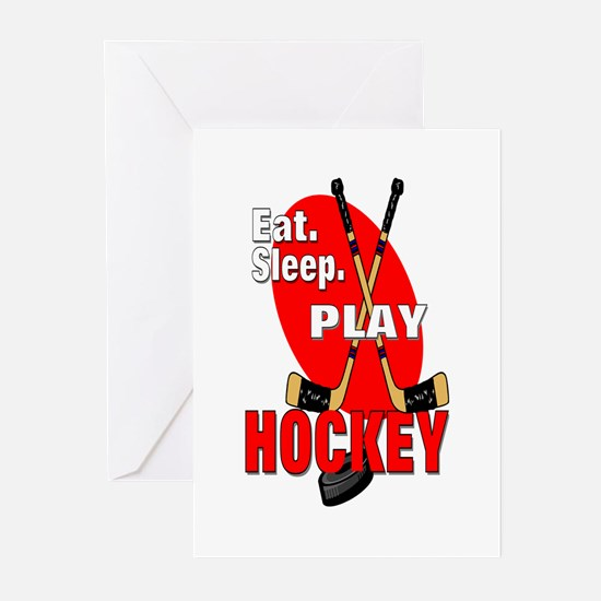 Eat Sleep Play Hockey Greeting Cards (Pk of 10