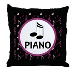 Piano Music Notes Throw Pillow