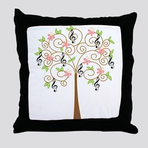 Music Treble Clef Tree Gift Throw Pillow