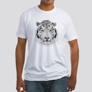 White Tiger Head Fitted T-Shirt