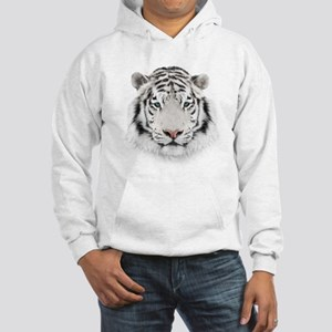 White Tiger Head Hooded Sweatshirt