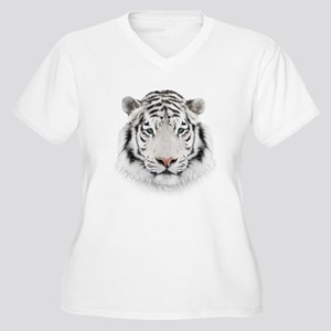 White Tiger Head Women's Plus Size V-Neck T-Shirt