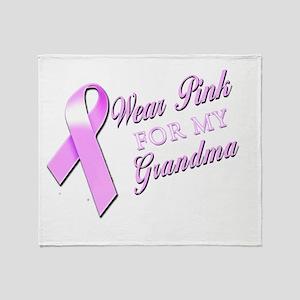I Wear Pink for my Grandma Throw Blanket