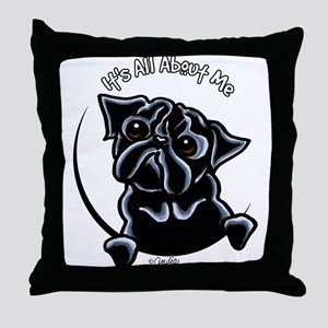 Black Pug IAAM Throw Pillow