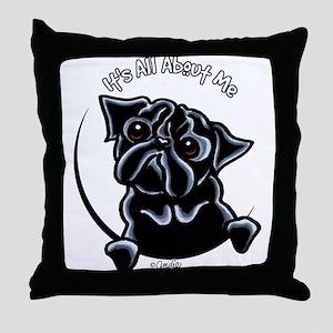 Black Pug IAAM Throw Pillow