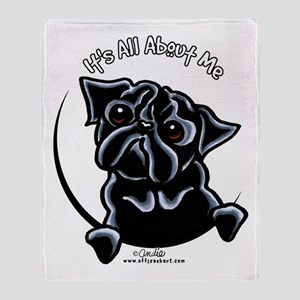 Black Pug IAAM Throw Blanket