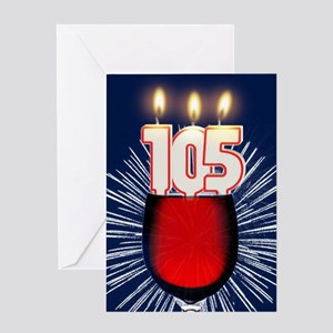 105th birthday wine and birthday candles Greeting