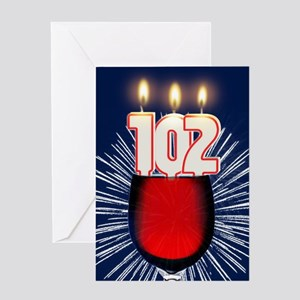 102nd birthday wine and birthday candles Greeting