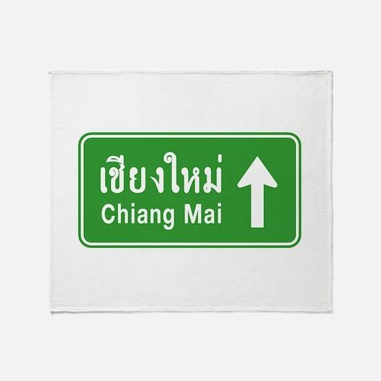 Chiang Mai Thailand Traffic Sign Throw Blanket