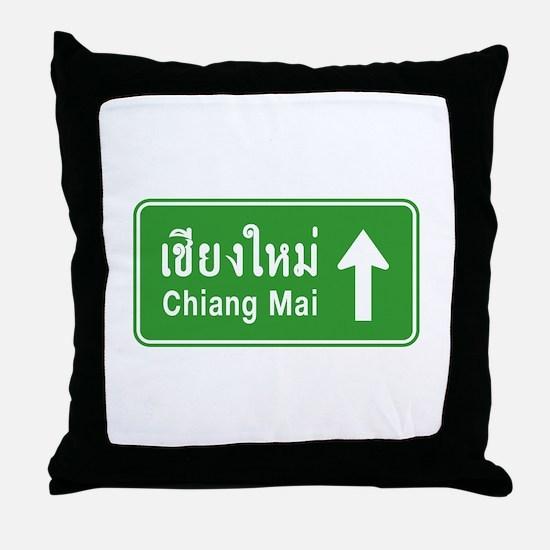 Chiang Mai Thailand Traffic Sign Throw Pillow