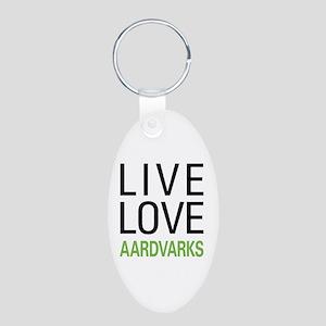 Live Love Aardvarks Aluminum Oval Keychain