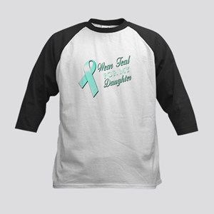 I Wear Teal for my Daughter Kids Baseball Jersey