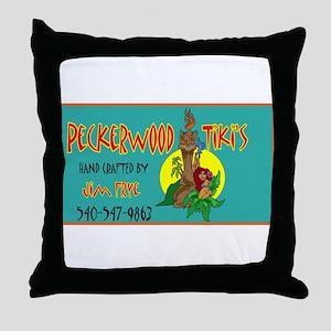 PECKERWOOD TIKI Throw Pillow
