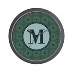 Cathedral Blue Monogram Wall Clock