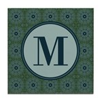 Cathedral Blue Monogram Tile Coaster