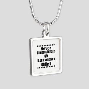 Never Underestimate A Latv Silver Square Necklace