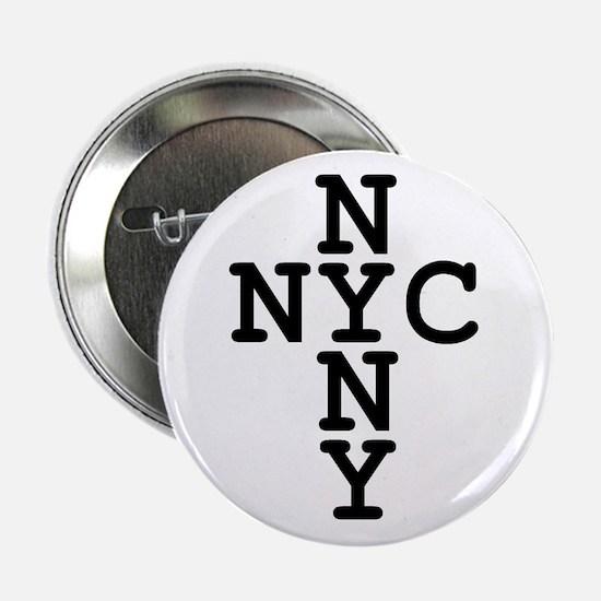 "NYC, NYNY CROSS 2.25"" Button"