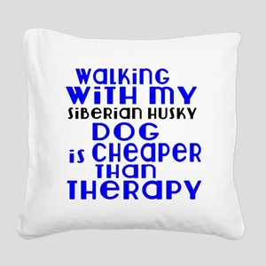 Walking With My Siberian Husk Square Canvas Pillow