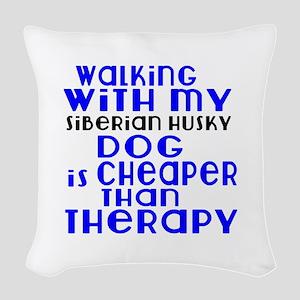 Walking With My Siberian Husky Woven Throw Pillow