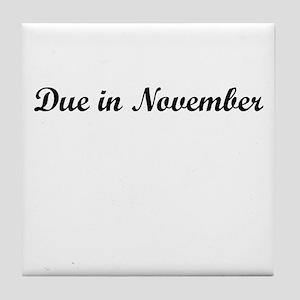 Due In November Tile Coaster
