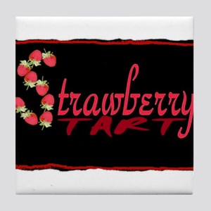strawberry tart Tile Coaster