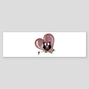 Valentine Owl and Red Heart Sticker (Bumper)