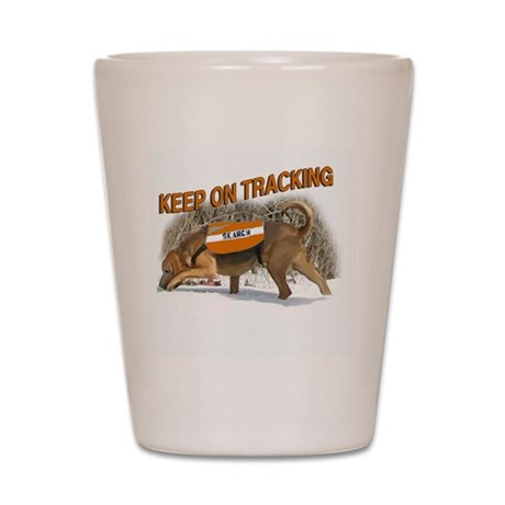 tracking bloodhound Shot Glass