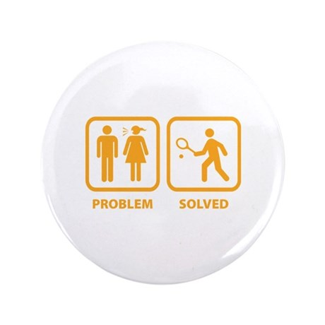 """Problem Solved Tennis 3.5"""" Button (100 pack)"""