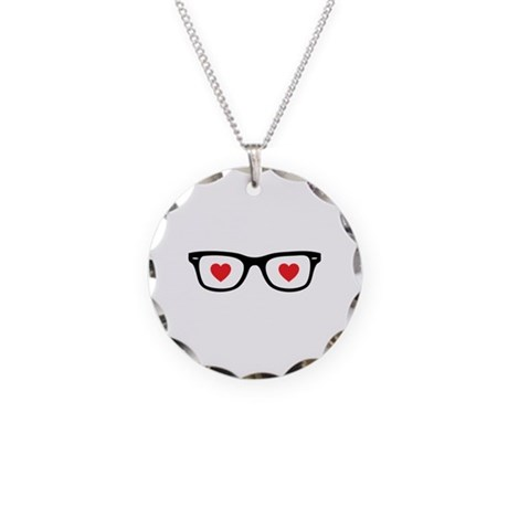 Love glasses Necklace Circle Charm