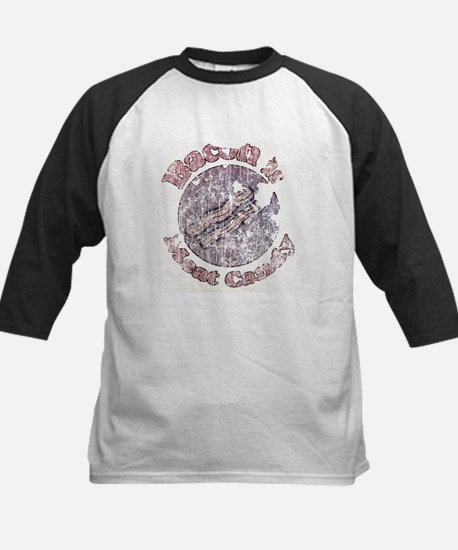 Extreme distressed Bacon is M Kids Baseball Jersey