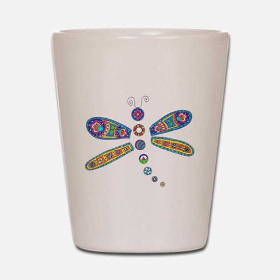 Rainbow Dragonfly Shot Glass