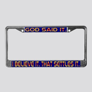 God Said It License Plate Frame Dark Blu