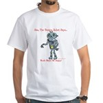 White T-Shirt MenSamfrontMusicmakeshappyBackLolly