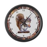 Squirrel on Log Large Wall Clock