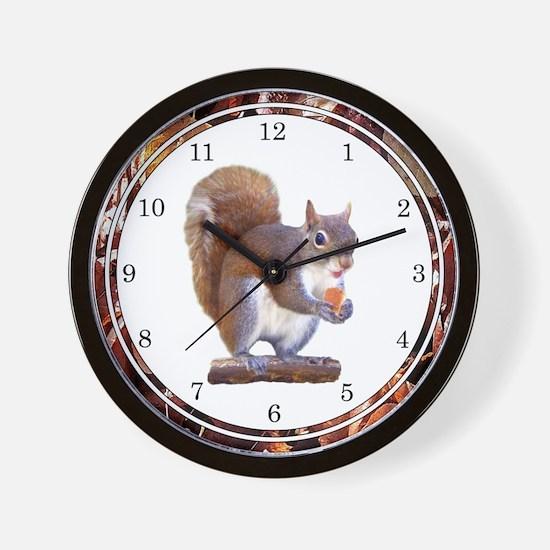 Squirrel on Log Wall Clock