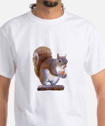 Squirrel on Log White T-Shirt