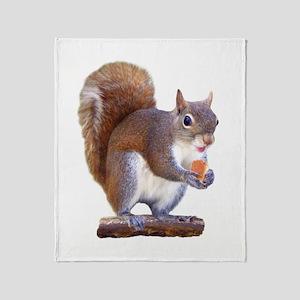 Squirrel on Log Throw Blanket