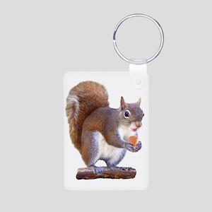Squirrel on Log Aluminum Photo Keychain