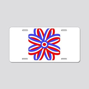 RED, WHITE & BLUE BOW Aluminum License Plate