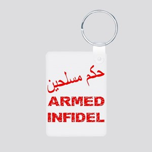 Arabic Armed Infidel Aluminum Photo Keychain