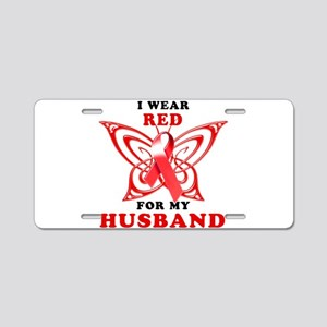 I Wear Red for my Husband Aluminum License Plate
