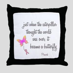 Caterpillar Became Butterfly Throw Pillow