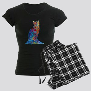 Whimsical Elegant Cat Women's Dark Pajamas