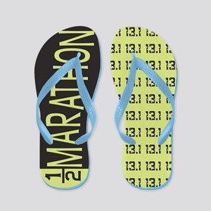 Green and Black 13.1 Half Marathon Flip Flops