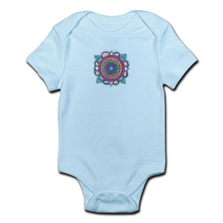 Mediallion-Teal and Raspberry Infant Bodysuit