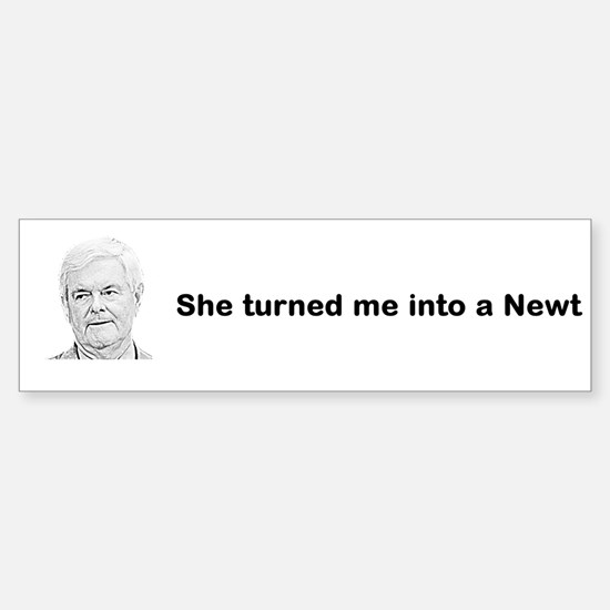 Turned Me Into a Newt bumper sticker