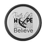 Faith Hope Carcinoid Cancer Large Wall Clock