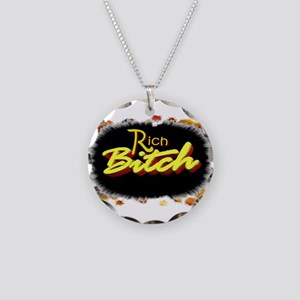 rich bitch Necklace Circle Charm