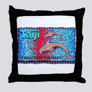 stop the slaughter of dolphin Throw Pillow